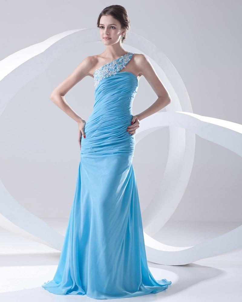 Chiffon Ruffle Beadings Applique One Shoulder Sleeveless Backless Floor Length Pleated Evening Dress