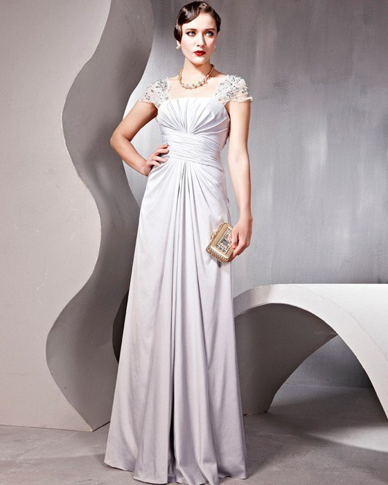 Ruffle Beaded Imitated Silk Charmeuse Tulle Queen Anne Floor Length Evening Dresses