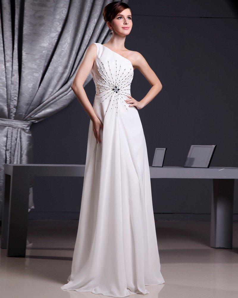Fashion Chiffon Charmeuse Silk Beaded One Shoulder Court Train Sleeveless Women Evening Dress