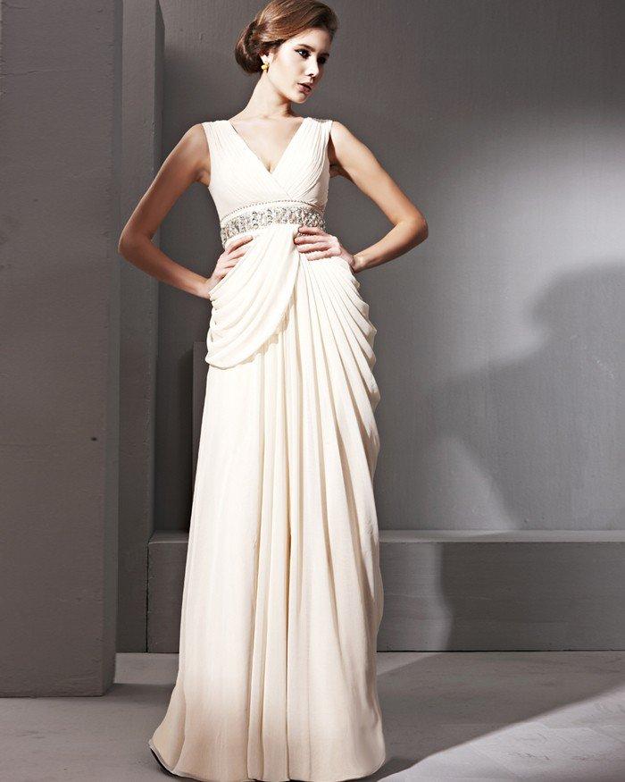 Noble Silk Satin V-neck Floor Length Evening Dresses