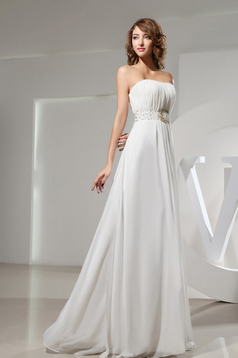 Strapless Sleeveless Zipper Floor Length Beading Ruffle Empire Chiffon Silk Woman Evening Dress