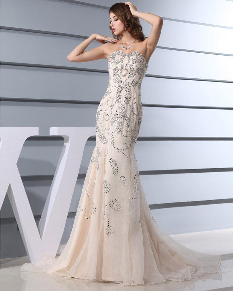 Floor Length Strapless Neckline Sleeveless Beading Organza Woman Celebrity Dresses