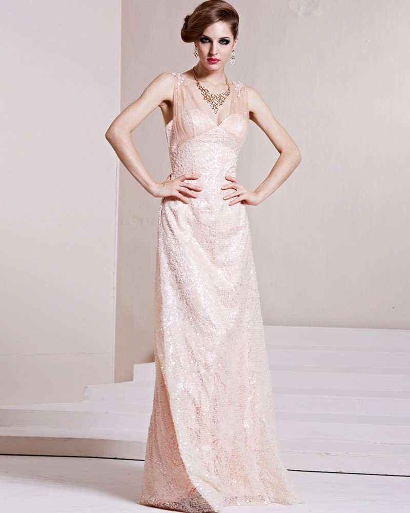 Fashion Paillette Charmeuse Gauze Beaded V Neck Sleeveless Floor Length Evening Dress