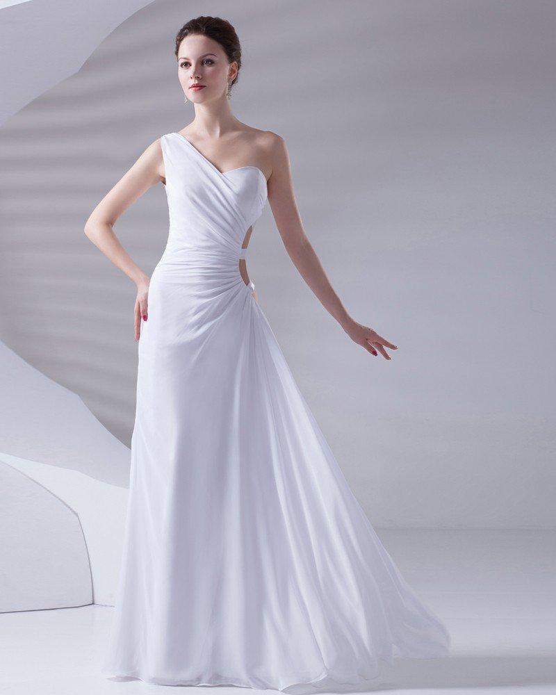 One Shoulder Floor Length Pleated Chiffon Woman Evening Dress