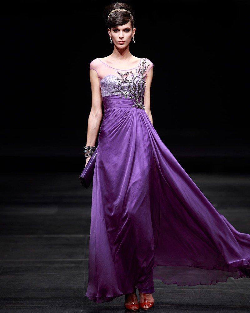 Floor Length Scoop Neckline Beading Empire Charmeuse Woman Evening Dress