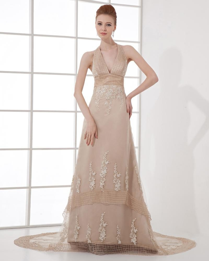 Fashion Organza Embroidery Halter Floor Length Celebrity Dress