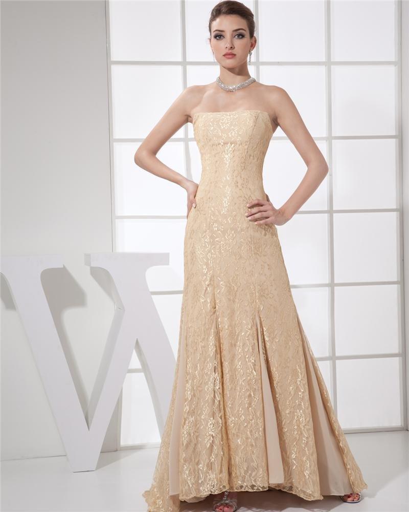 Strapless Ruffle Sleeveless Zipper Floor Length Empire Chiffon Lace Woman Evening Dress