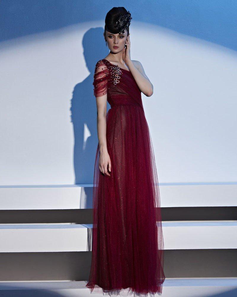 One Shoulder Rhinestone One Side Short Raglan Sleeve Floor Length Charmeuse Woman Evening Dress