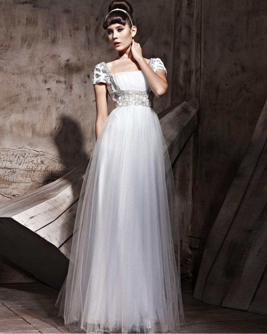 Short Sleeve Floor Length Charmeuse Sequin Sabrina Evening Dresses