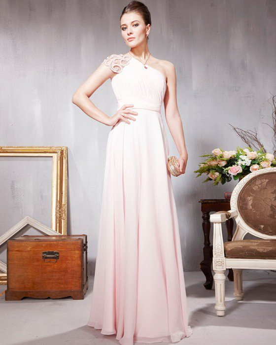 Lace Chiffon Charmeuse Beading Applique One Shoulder Floor Length Evening Dresses