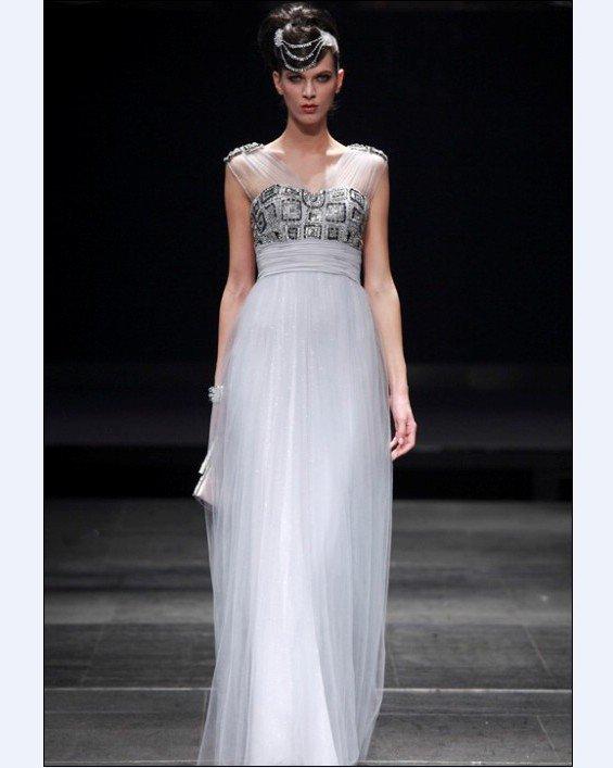 Empire V Neck Sleeveless Floor Length Bead Satin Evening Dresses