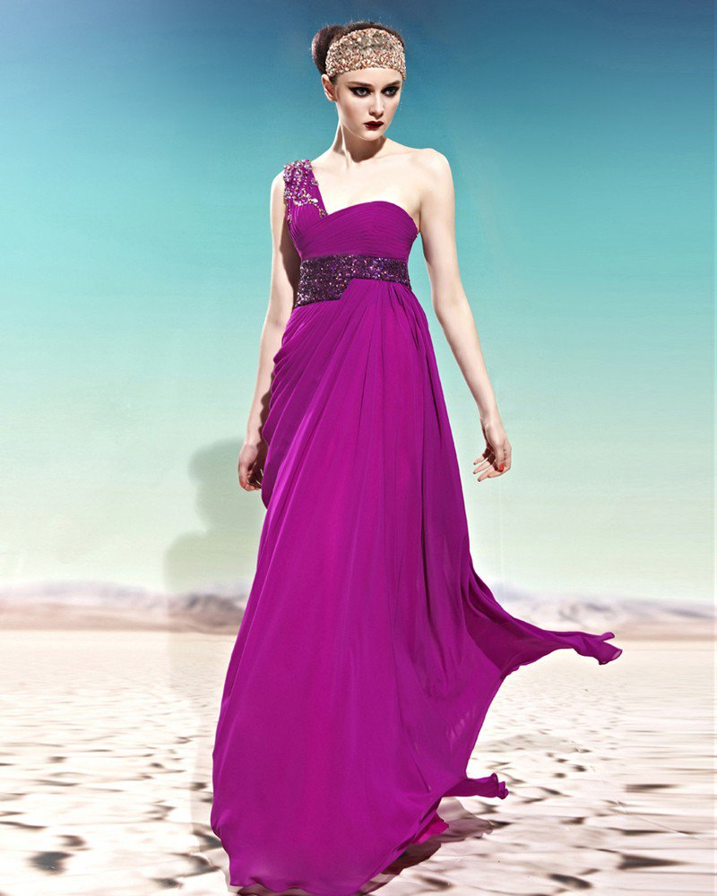 Strapless One Shoulder Ruffle Beading Belt Sleeveless Backless Floor Length Woman Evening Dresses