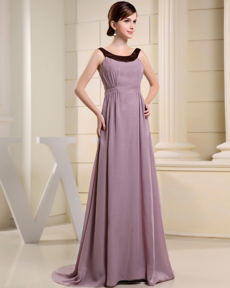 Fashion Chiffon Charmeuse Silk Crew Neck Court Train Sleeveless Women Evening Dress