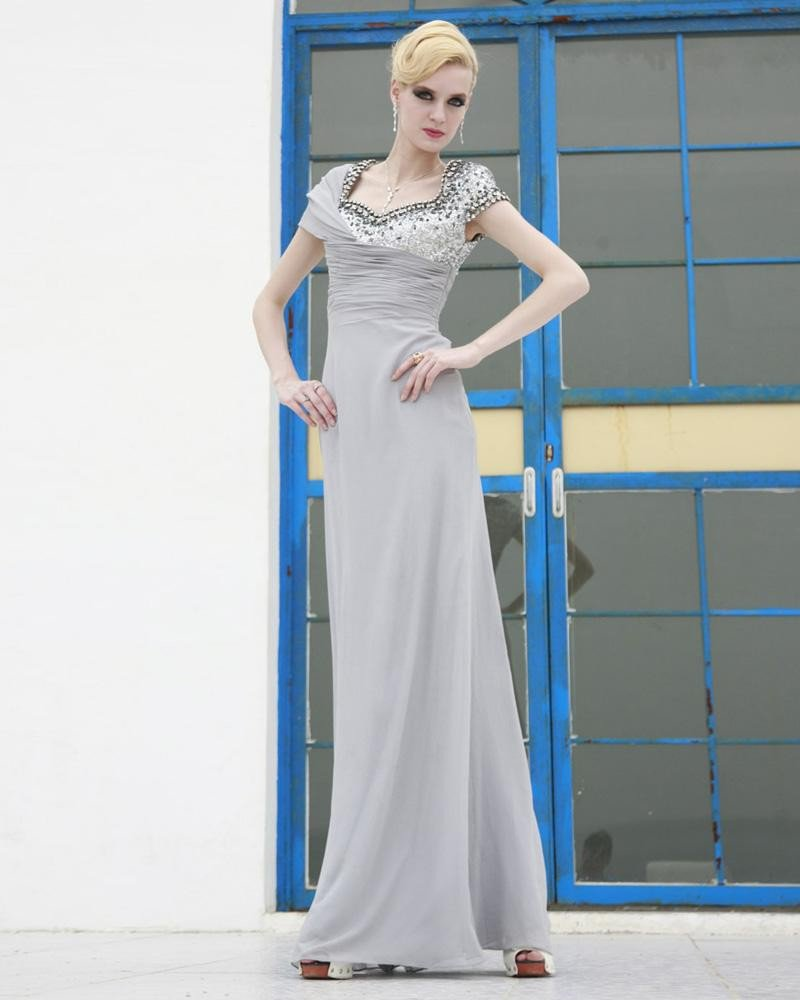 Silk Mesh Charmeuse Beading Pleated Square Neck Floor Length Evening Dresses