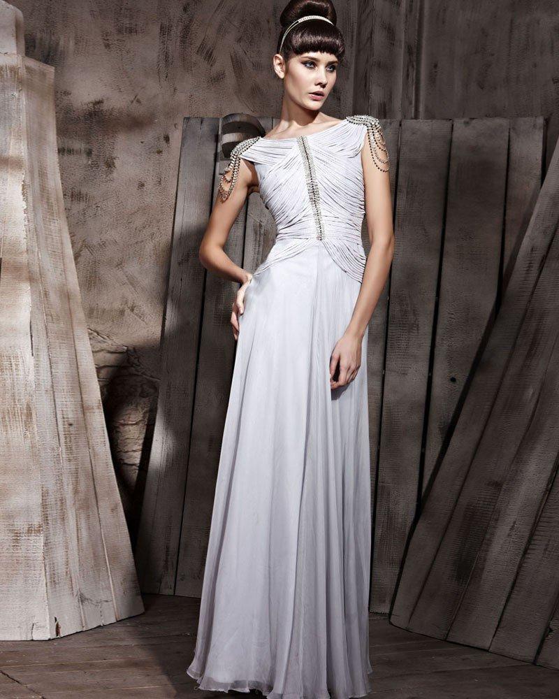 Retro Floor Length Silk Chiffon Sabrina Evening Dresses