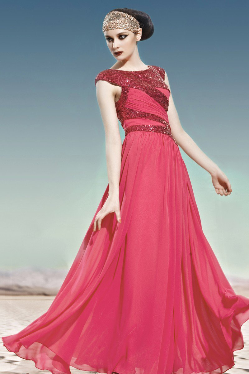 Scoop Neck Beading Sleeveless Floor Length Charmeuse Woman Evening Dress