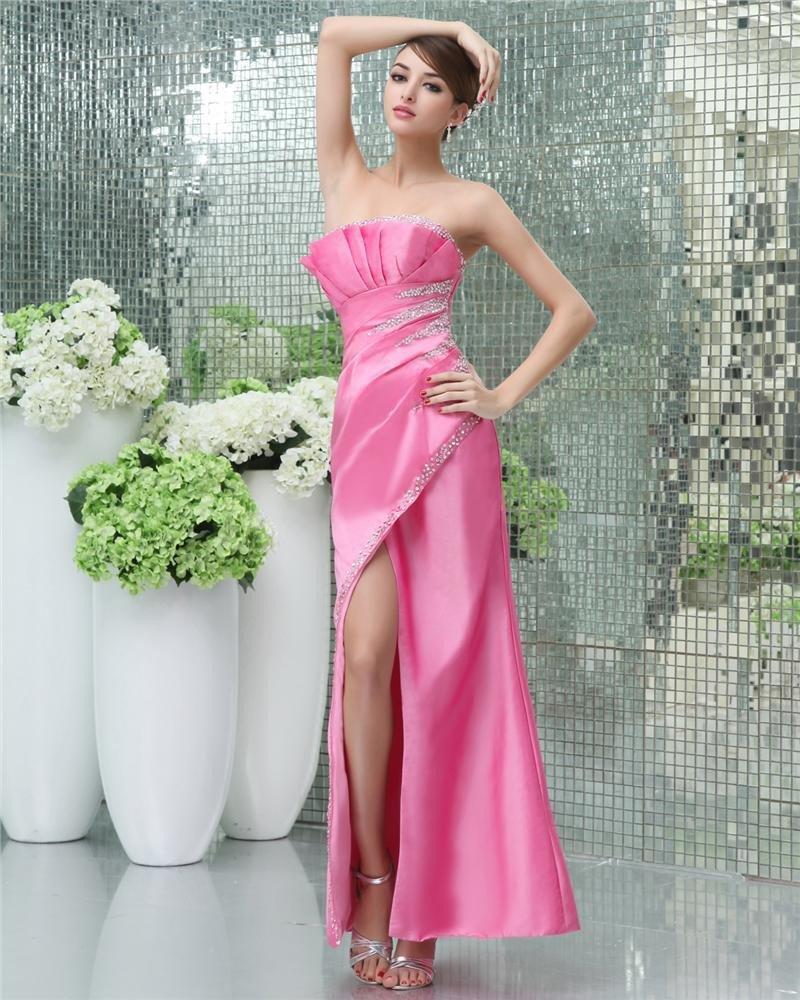 Fashion A-Line Beads Ruffle Strapless Floor Length Silk Evening Dress