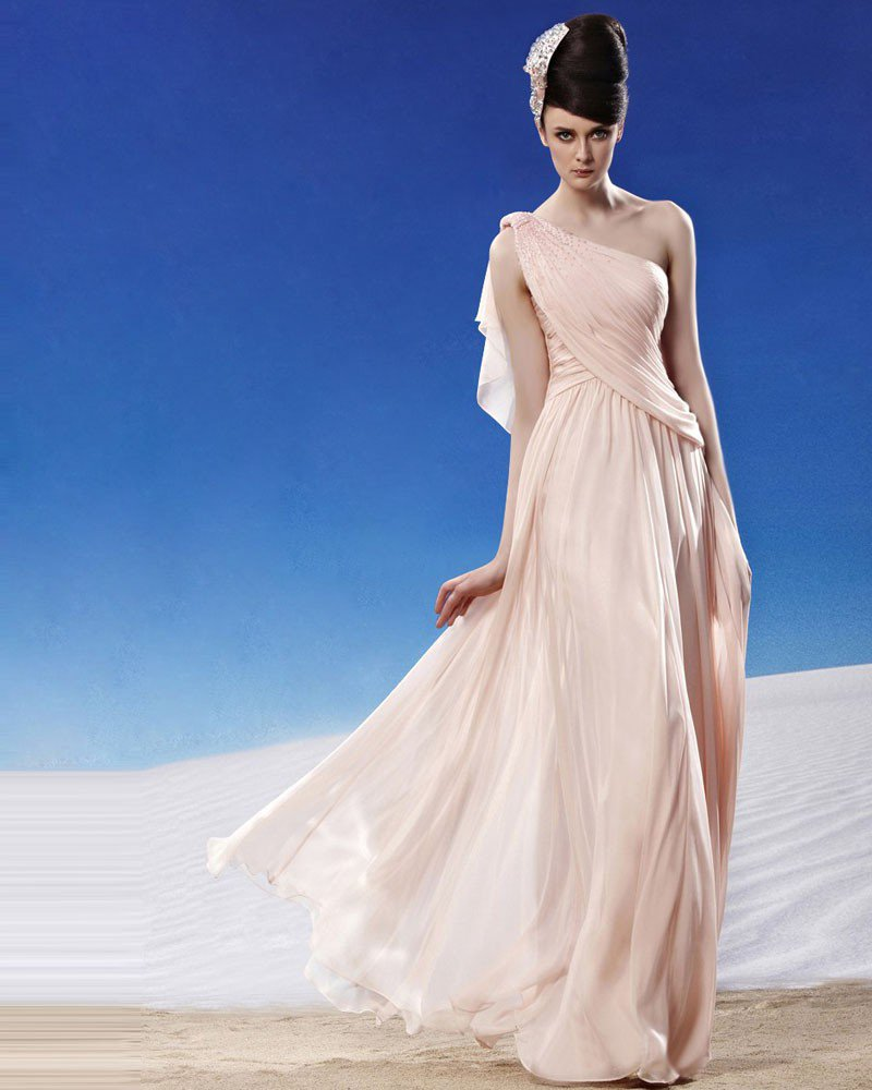 Elegant Beading Ruffles Floor Length Sloping Tencel Charmeuse Evening Dress
