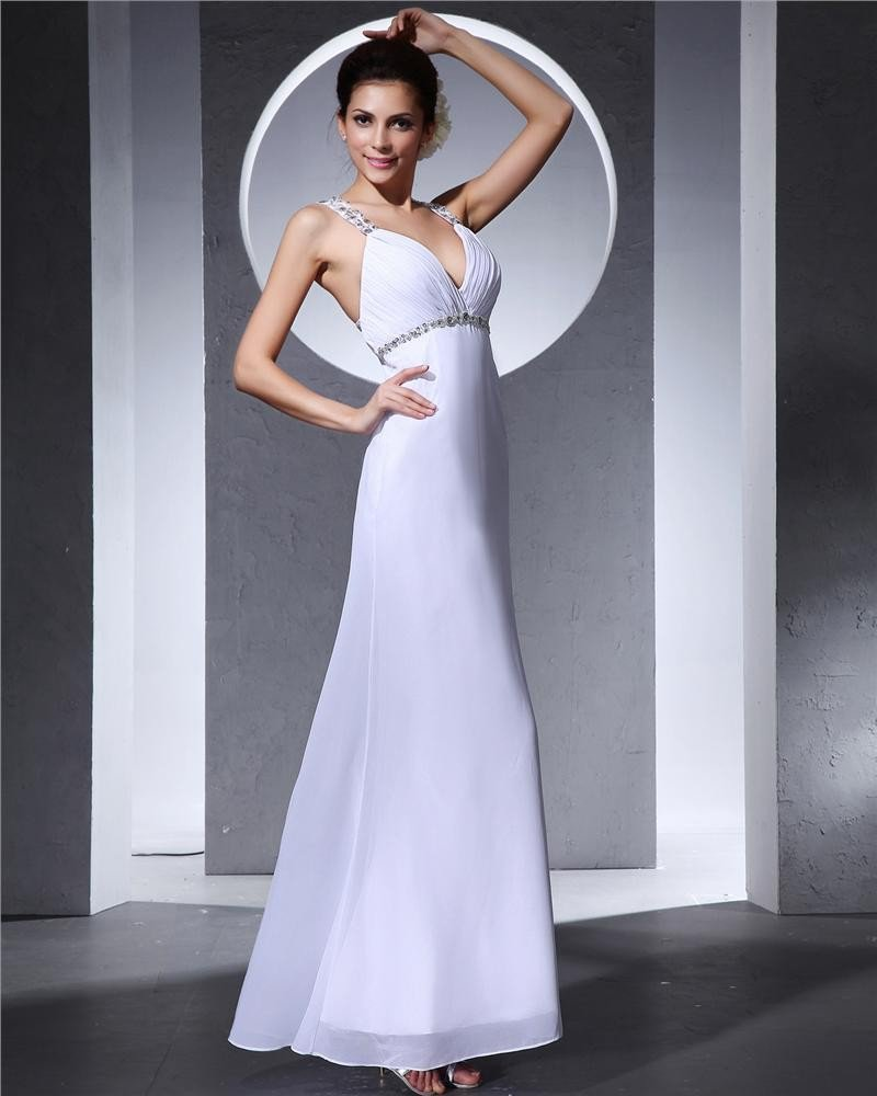 Chiffon Beading V Neck Shoulder Straps Floor Length Evening Dresses