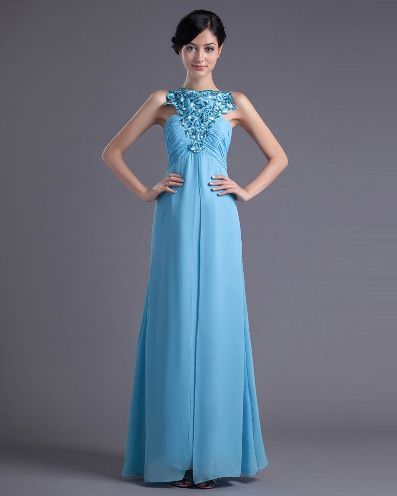 Fashion Chiffon Pleated Applique Bateau Floor Length Evening Dress