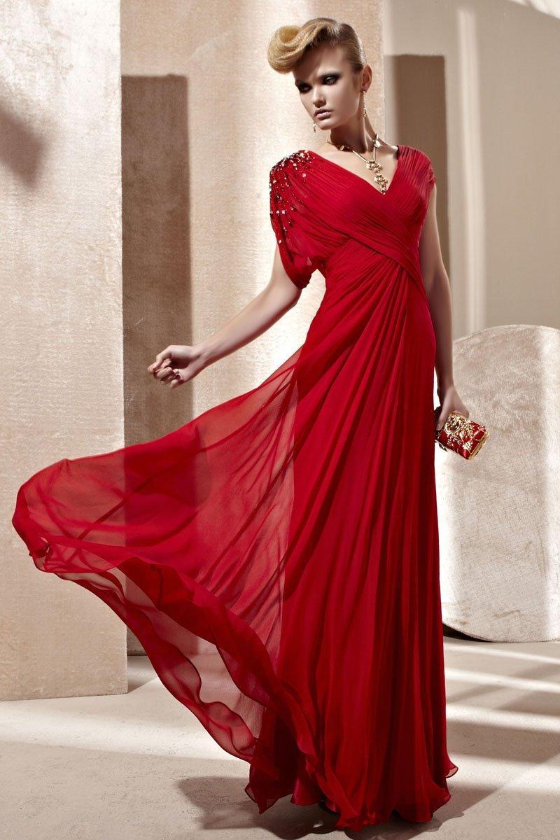 V Neck Beading Ruffle Short Sleeve Floor Length Composite Filament Woman Evening Dress