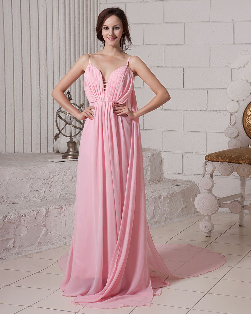 Elegant Solid Ruffle Deep V Neck Sleeveless Zipper Chiffon Evening Dress