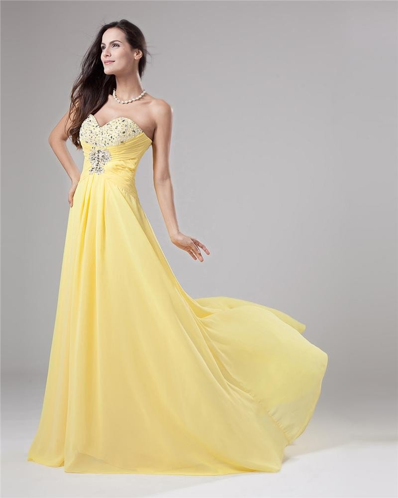 Chiffon Beading Pleated Sweetheart Neckline Floor Length Evening Dresses