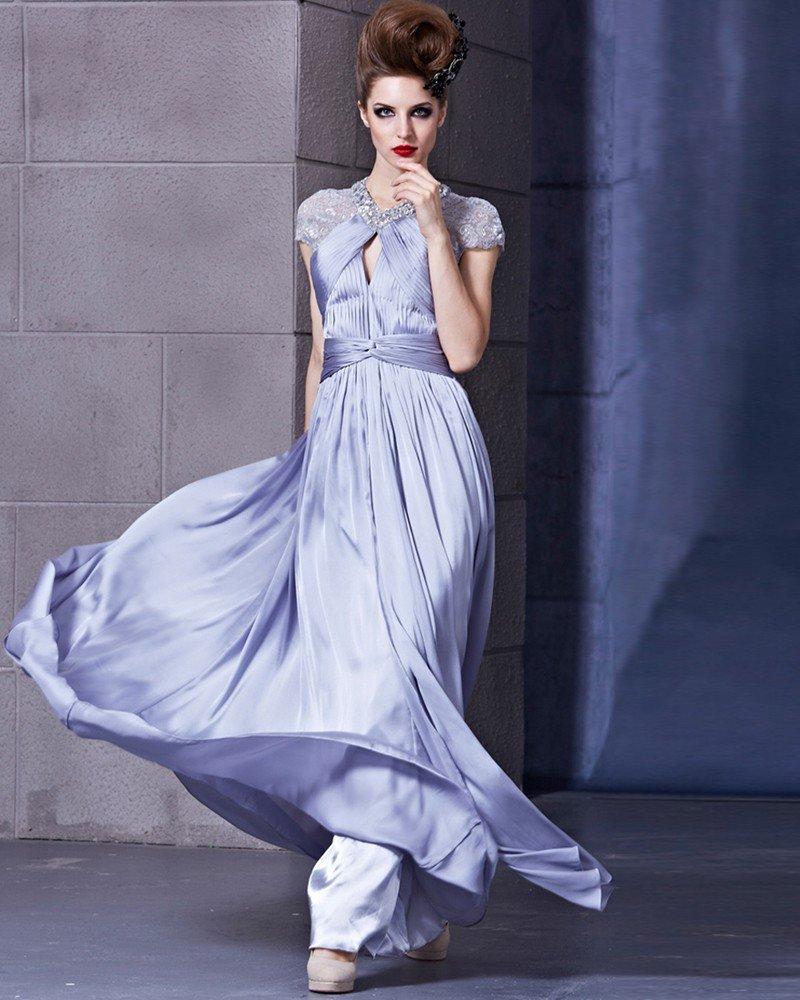 Elastic Silk Like Satin Charmeuse Satin Beading Portrait Sleeveless Backless Floor Length Pleated Ev