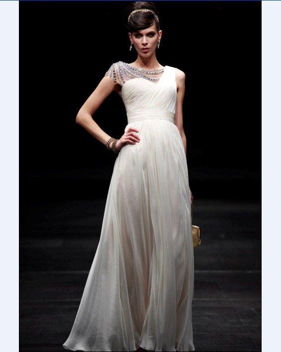 Empire One Shoulder Sleeveless Floor Length Bead Satin Chiffon Evening Dresses