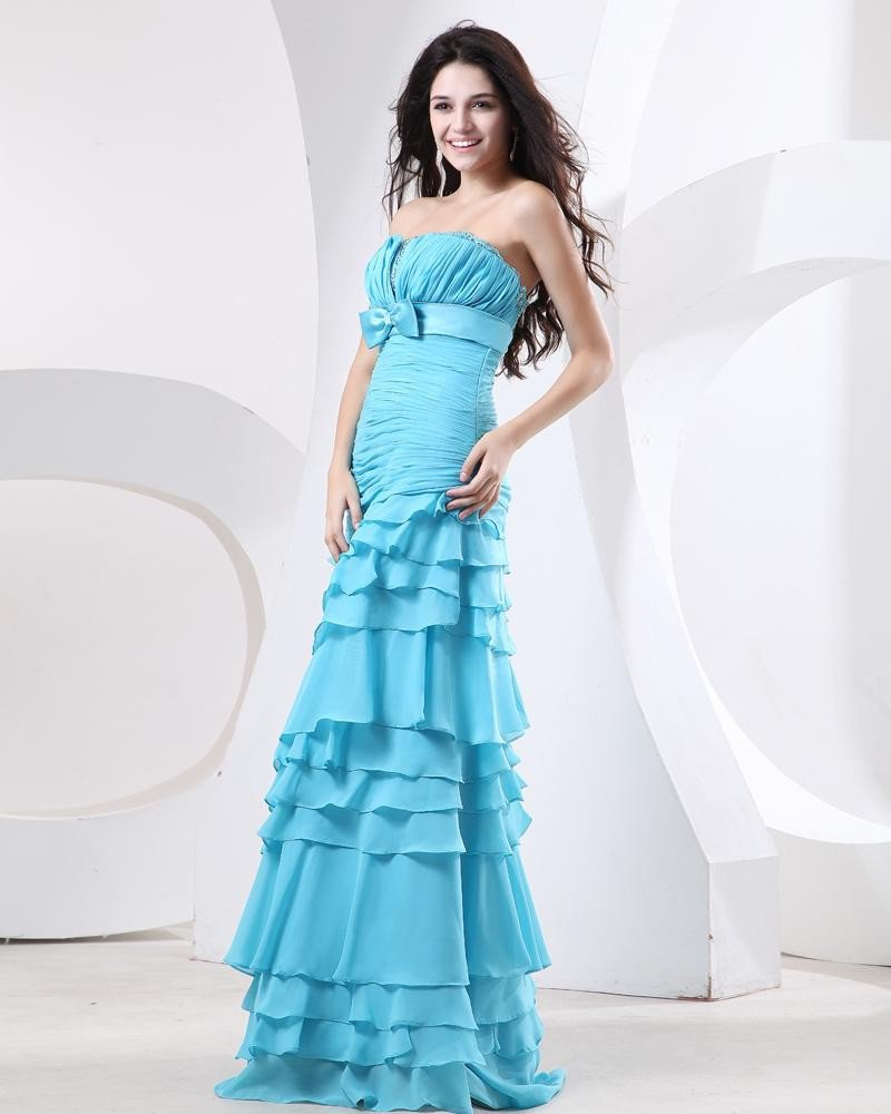 Sheath Strapless Brush Train Chiffon Ruffle Beading Women's Evening Dress