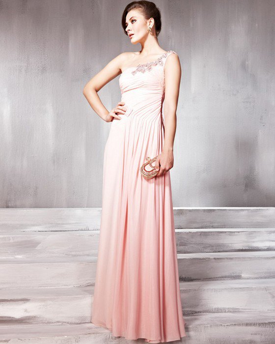 Beaded Pleated Tulle Silk Charmeuse One Shoulder Floor Length Evening Dresses