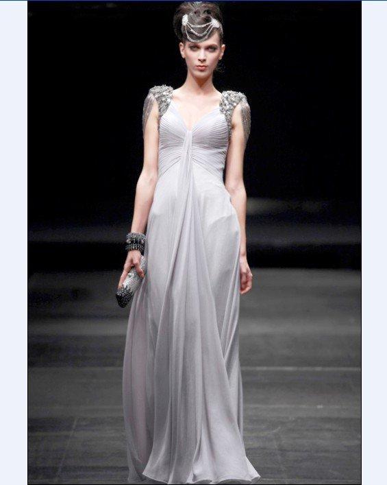 Empire V Neck Sleeveless Floor Length Wrinkle Bead Satin Composite Filament Cocktail Dresses
