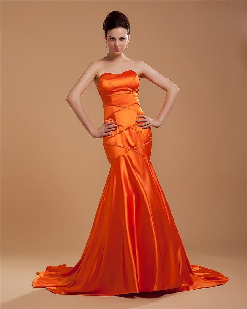 Elegant Satin Floor Length Evening Dress