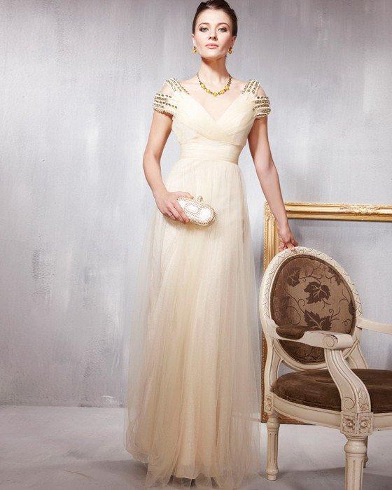 Beading Layered V Neck Floor Length Evening Dresses