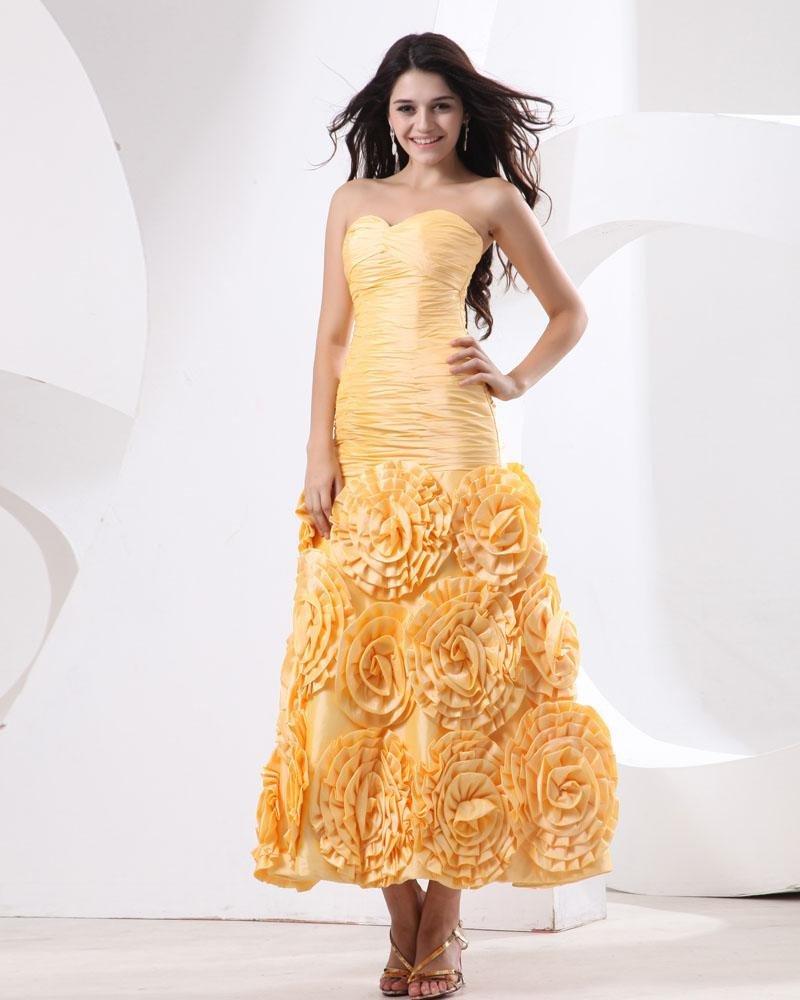 Taffeta Strapless Ruffles Tea Length Sheath Evening Dresses