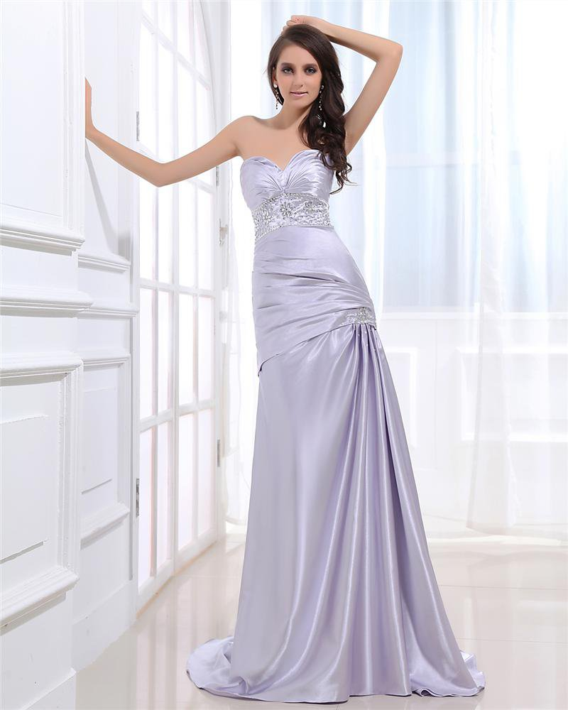 Taffeta Ruffles Beading Sweatheart Floor Length Evening Dresses