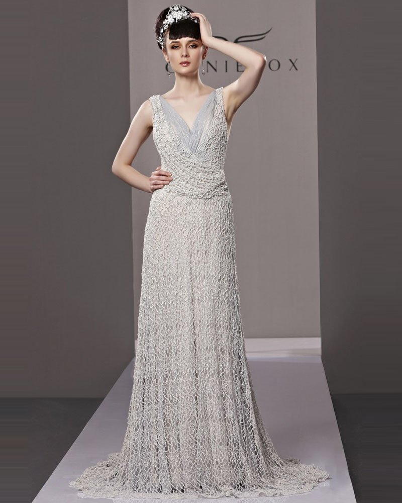 V Neck Floor Length Beading Tulle Woman Evening Dress
