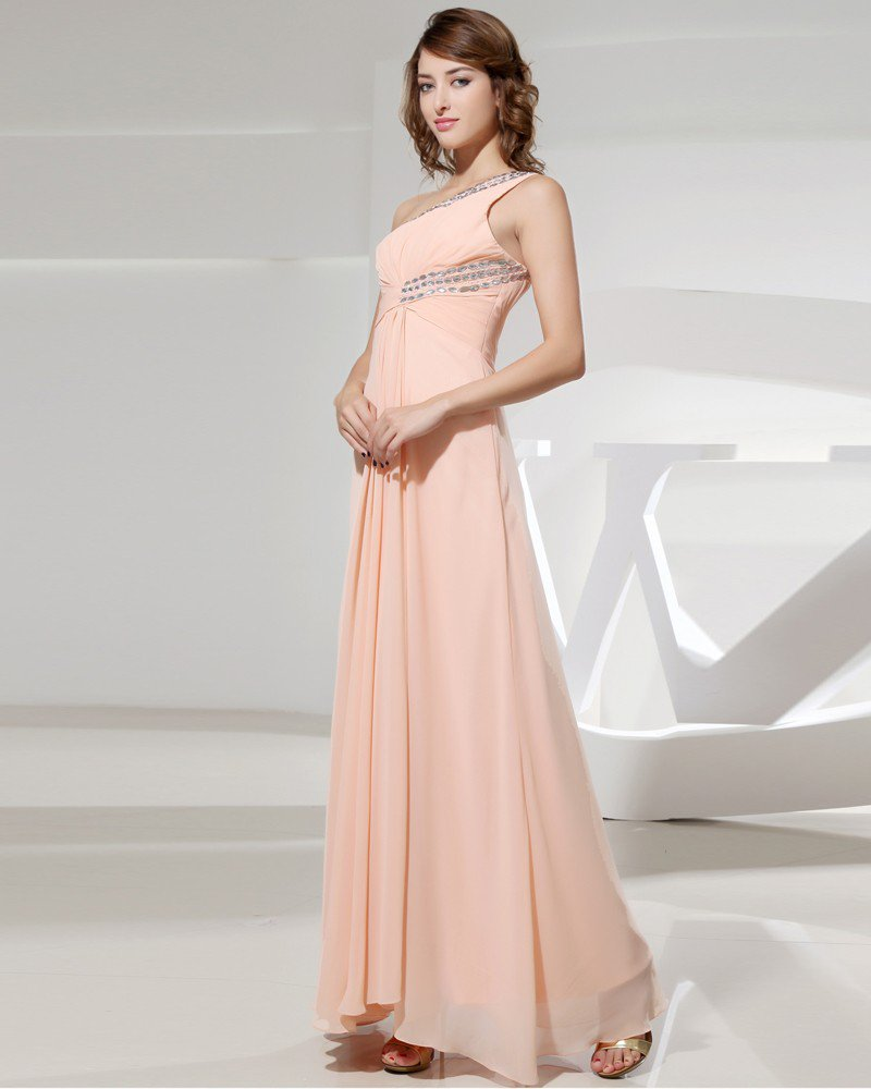 One Shoulder Backless Sleeveless Beading Ruffle Floor Length Chiffon Silk Woman Evening Dress