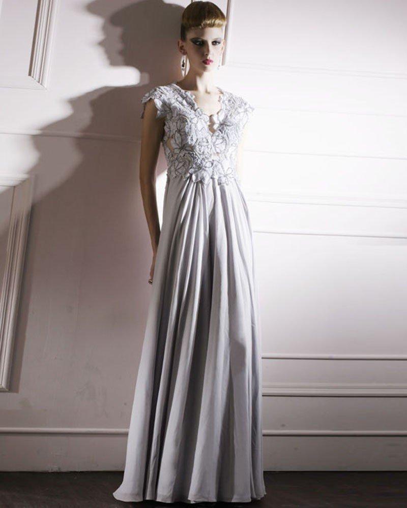 Cloth Tulle Charmeuse V-neck Bead Floor Length Evening Dress