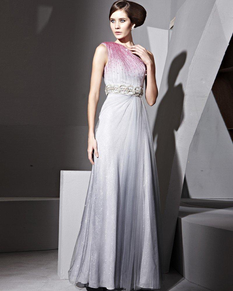 Floor Length Single Shoulder Collect Waist Evening Dresses
