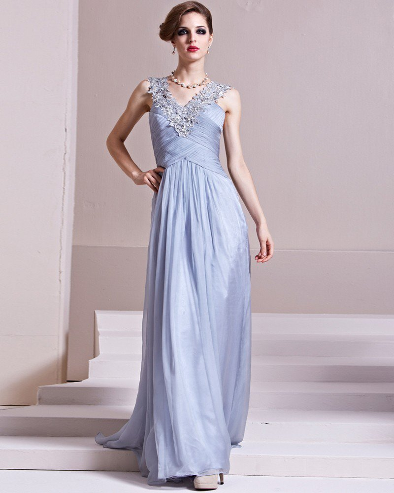 V Neck Sleeveless Floor Length Flowers Beading Tencel Empire Woman Evening Dress