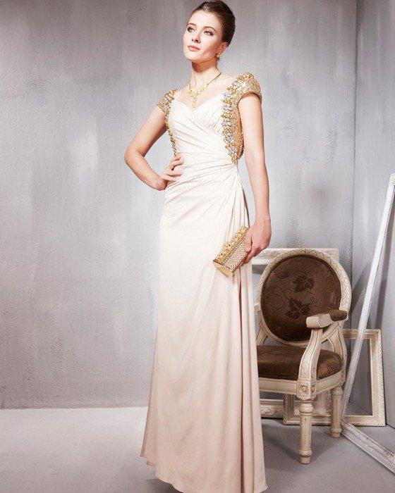 Tencel Sequin Charmeuse Beading Pleated V Neck Floor Length Evening Dresses