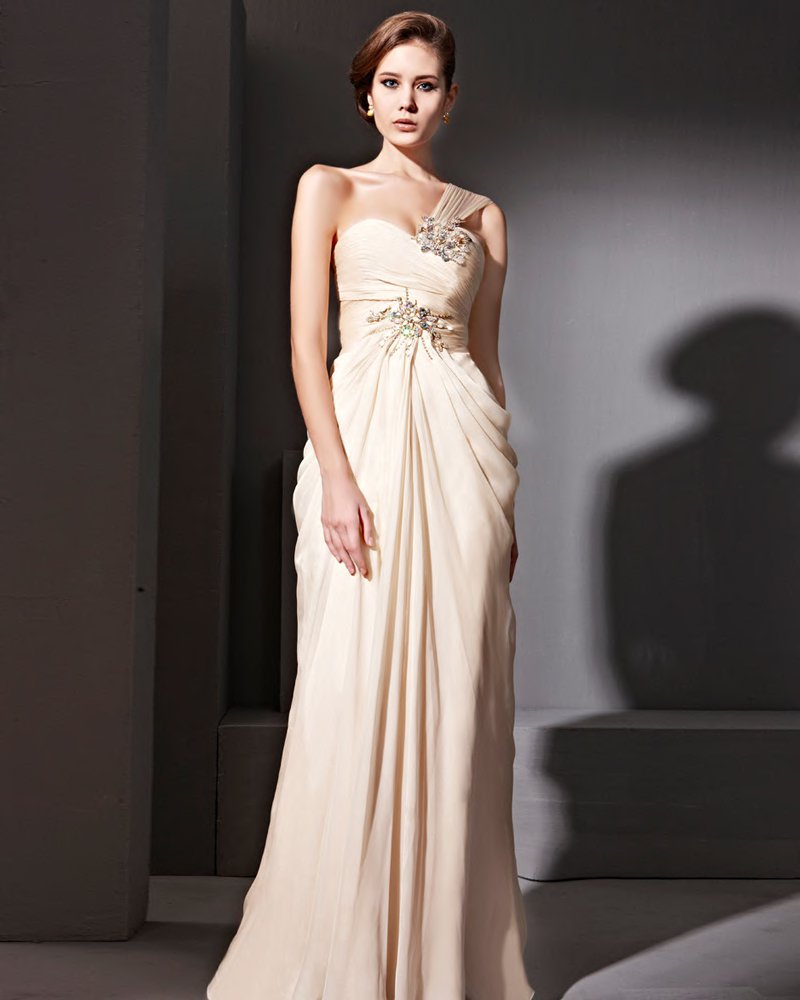 Tencel Single Shoulder Floor Length Evening Dresses