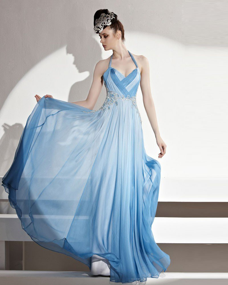 Formal Halter Floor Length Beading Pleated Tencel Women Evening Dress