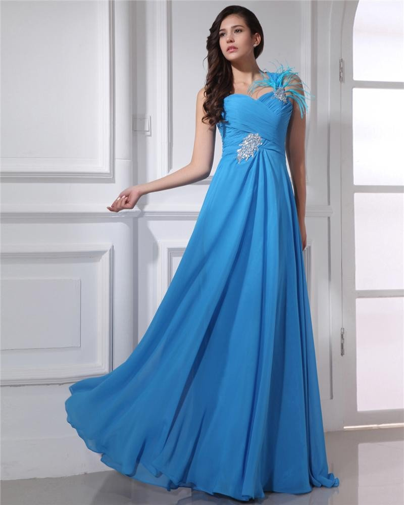 One Shoulder Floor Length Feather Beading Pleated Chiffon Women Evening Dress
