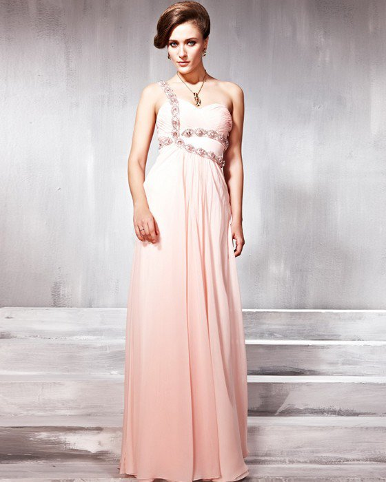 Sequin Tulle Tencel Charmeuse Beading One Shoulder Layered Floor Length Evening Dresses