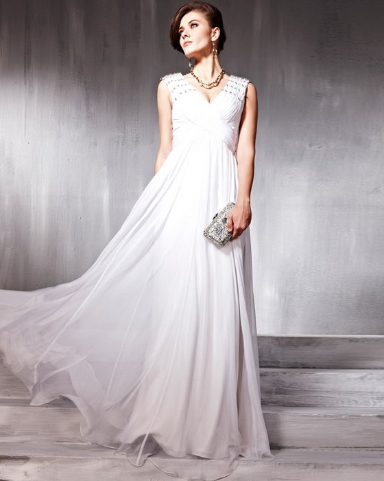 V Neck Beading Hand Flower Silk Charmeuse Floor Length Evening Dresses