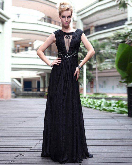 Silk Jewel Rhinestone Pleated Floor Length Evening Dresses