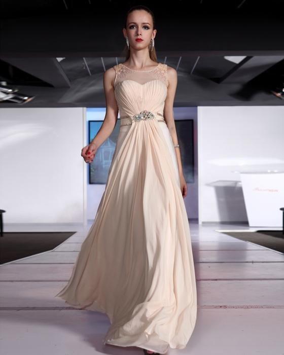 Ruffle Beaded Chiffon Round Neck Floor Length Evening Dresses