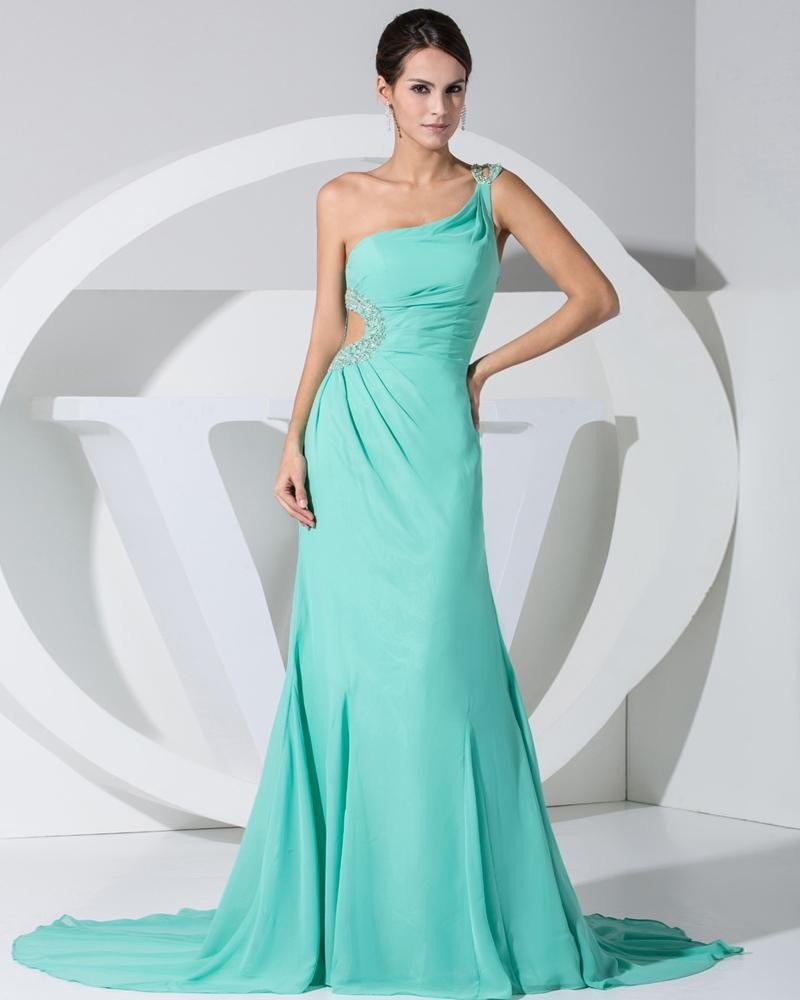 Chiffon Elastic Silk Like Satin Silk Beading Slopping Side Zipper Ruffle Sleeveless Court Train Cele